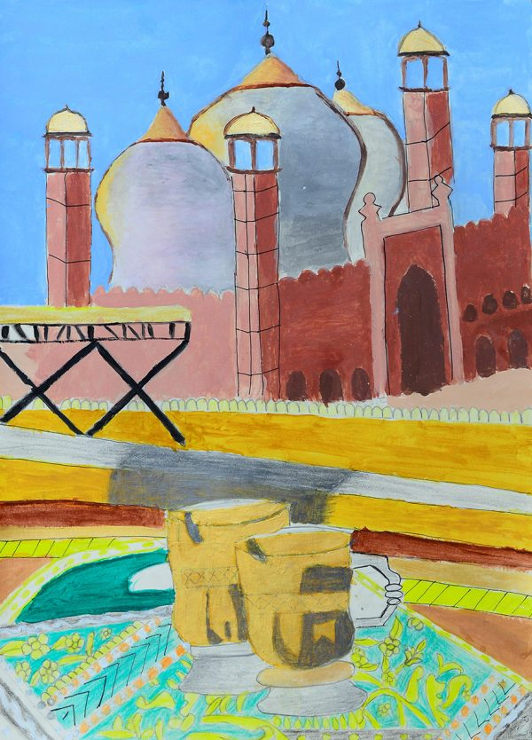 My artwork is on badshahi masjid its one of the famous place in Pakistan