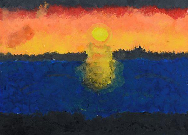 A sun set of sea view
